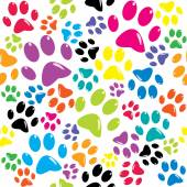 Pattern with colored paws — Stock Vector