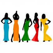 Women wearing colorful dresses — Stock Vector