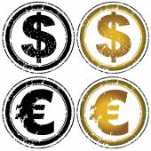 Dollar and euro symbols — Stock Vector