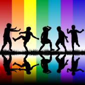 Children on rainbow background — Stock Vector