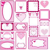 Conjunto de marcos rosa — Vector de stock