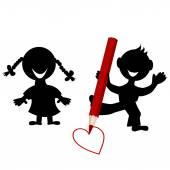 Children silhouettes drawing a heart — Stockvektor