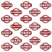Rubber stamps with negative emotions — Stock Vector