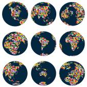 World globes with continents — Stock Vector