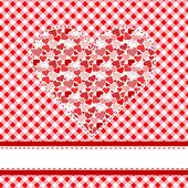 Heart over tablecloth — Stockvektor
