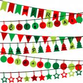 Decorative bunting with Merry Christmas and Happy New Year 2015 — Stock Vector