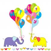 Happy Birthday invitation with cartoon elephants and balloons — Vector de stock