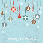 Retro Christmas background with decorative balls — Stock Vector