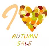 I love autumn sale — 图库矢量图片