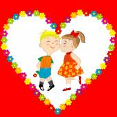 Card with boy and girl kissing — Stock Vector