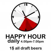 Happy hour concept with clock — Stock Vector
