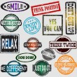 Motivation and positive thinking messages rubber stamps set — Stock Vector #62087061
