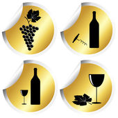 Wine icons on golden round stickers with curved corner — Stock Vector
