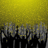 Nightclub party with hands in air and golden confetti — Stockvector