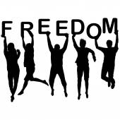 People silhouettes jumping and holding the letters with word Fre — Stockvektor