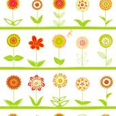 Rows of flowers seamless pattern — Stock Vector