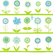 Rows with blue flowers — Stock Vector