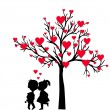 Greeting Valentine's Day card with tree of hearts and kids kissi — Stock Vector #63896521