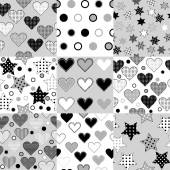 Set of black and white seamless background patterns with stars,  — Stock Vector