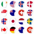 Curled corner stickers set with flags of the most developed coun — Stock Vector #66388397