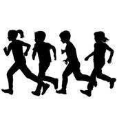 Children silhouettes running over white background — Stock Vector