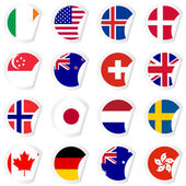 Curled corner stickers set with flags of the most developed coun — Stock Vector