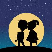 Silhouette of a boy and a girl kissing in the moonlight — Stock Vector