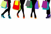 Women silhouettes legs with high heels and shopping bags and pla — Stock Vector