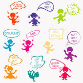 Kids with chat bubbles with sale messages — Stock Vector