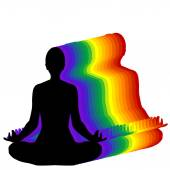 Woman sitting in yoga lotus position with aura — Stock Vector