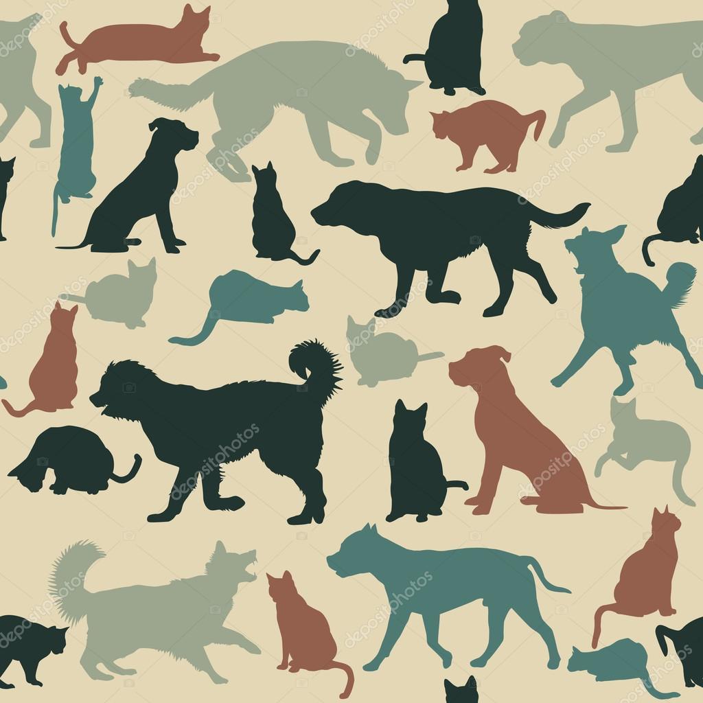 Vintage fondo transparente con siluetas de perros y gatos for Red transparente para gatos