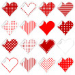 Collection of cute hearts stickers with twisted corner — Stock Vector #72561461