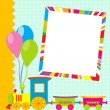 Greeting card with photo frame and cartoon train — Stock Vector #73502661