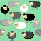 Sheep seamless pattern on a green background — Stock Vector