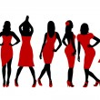 Collection of women silhouettes in red dress — Stock Vector #78387496