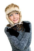 Sexual girl in winter fur hat — Stock Photo