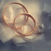 Wedding gold ring, decorations for a wedding celebration.  — Stock Photo
