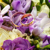 Gold wedding rings on a bouquet of flowers for the bride  — Foto Stock