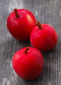 Fresh harvest of ripe red apples on a wooden surface. — Foto de Stock