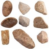 Set of stones isolated on white background. Natural minerals min — Stock Photo