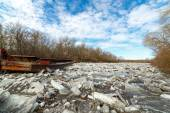Of ice jams on the navigable river Don. Russia — Stock Photo