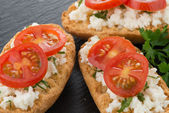 Bread with cottage — Foto Stock