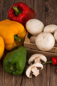 Vegetables on wooden box — Stock Photo