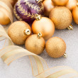 Golden christmas balls — Stock Photo #61365943