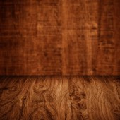Table with wooden wall — Stock Photo