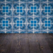 Wood table top and blur  ceramic tile  wall — Stock Photo