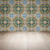 Wood table top and blur  ceramic tile  wall — Stockfoto