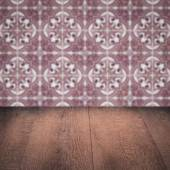 Wood table top and blur  ceramic tile  wall — 图库照片