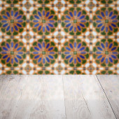 Wood table top and blur  ceramic tile  wall — Stok fotoğraf