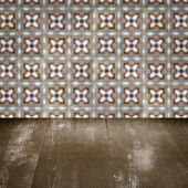 Wood table top and blur  ceramic tile  wall — Stock fotografie